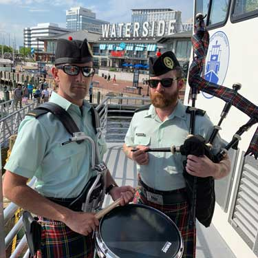 Snare Drummer and a bag pipe player