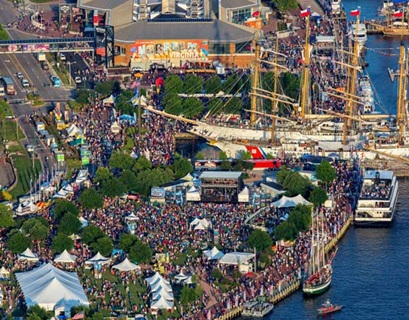 Aerial view of festival at downtown Norfolk waterfront